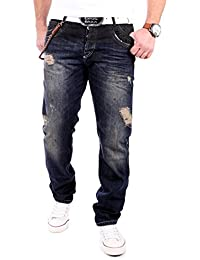 Cipo & Baxx Herren Jeans Regular Fit Vintage Jeanshose CD-151 Dunkelblau