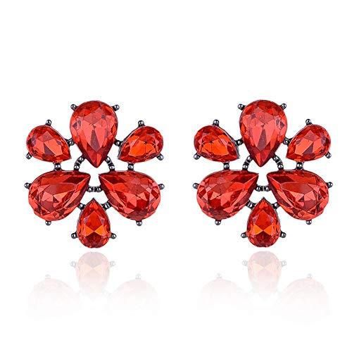 HUGJOU Sechs Blütenblätter Acryl Kristall Stein Mode Ohrstecker Silber Farbe Metall Piercing Ohrringe Frauen Schmuck Für Weihnachten
