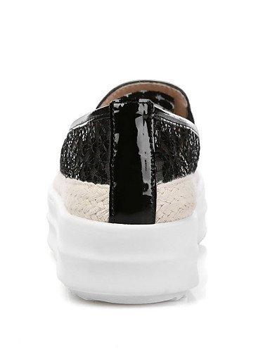 ShangYi gyht Scarpe Donna-Mocassini-Ufficio e lavoro / Formale / Casual-Plateau / Comoda / Punta arrotondata-Plateau-Di pelle / Tulle-Nero / Tessuto almond