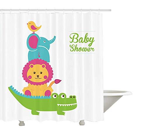 Yeuss Baby Duschvorhang, Krokodil L?We Elefant und Vogel Lustige Tiere Kindergarten Design Baby Dusche Thema, Tuch Stoff Badezimmer Dekor Set mit Haken, Multicolor