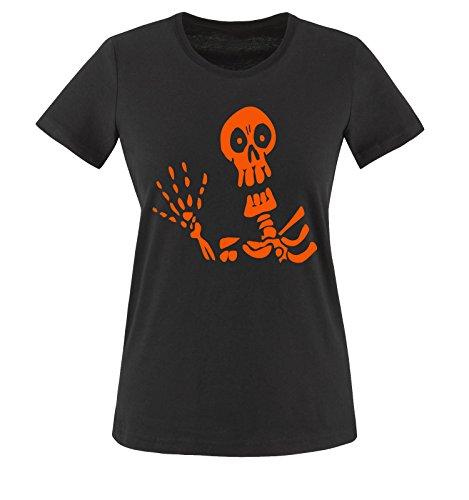 Comedy Shirts - HALLOWEEN SKELETT - Damen T-Shirt Schwarz / Orange Gr. (Und Halloween Bonnie Clyde)