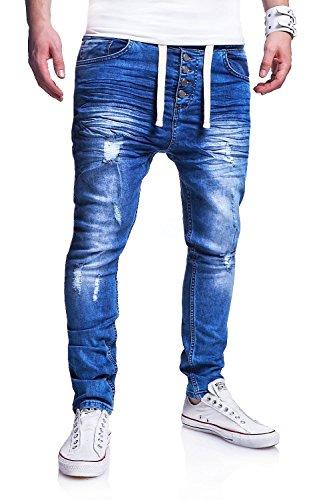 MT Styles Jogg-Jeans Buttons Hose RJ-289 [Blau, W34]