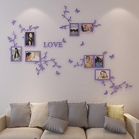 HCCY Mur 3D stéréoscopique en 3d acrylique mur chambre salon cristal photo décoration murale en collant les affiches 140*100cm, cuir