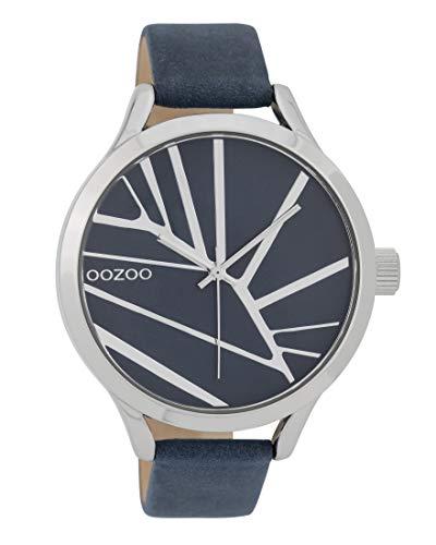 Oozoo Damenuhr mit Lederband 43 MM Blau/Blau C9681
