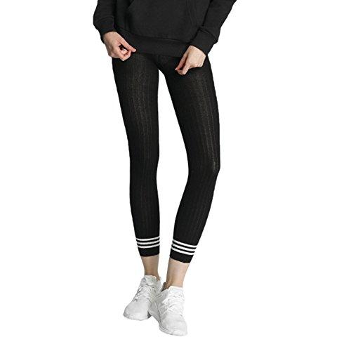 adidas Damen Tight 3 Stripes Leggings, Black, M (Stripe Leggings Black)