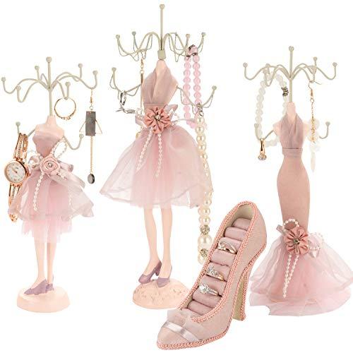 Qilicz - Soporte para joyas, zapatos, anillos, pendientes, soporte para anillos y 3 soportes para collares, pendientes, anillos, pulseras y expositores