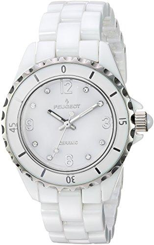 Peugeot bianco ceramica orologio sportivo lunetta cristallo Swarovski marcatori 7100wt