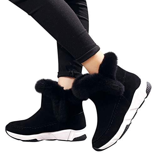 2d23b0820ba36 Bottes Femme, Manadlian Bottes Classiques Femme Chaussures à Bout Rond Faux  La Laine Doublure en