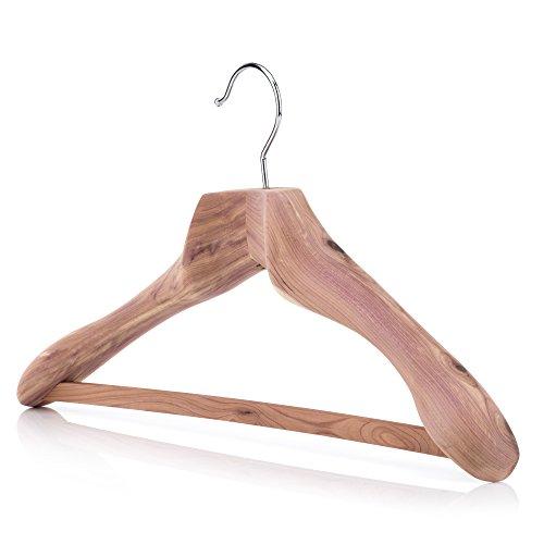 HANGERWORLD Robuste XL Zedernholz Kleiderbügel 50cm Anti-Rutsch-Einlage auf Hosensteg