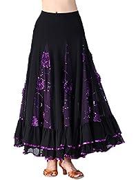 P Prettyia Jupe de Danse Flamenco Paillettes Broderies Florales Swing Plein  Cercle 1d96ef9c7d7