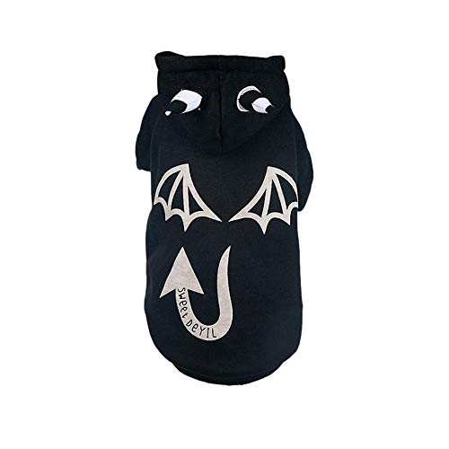 HYLH  Pet Clothes Autumn and Winter Warm Hooded Sweatshirt Teddy Puppy Cat Little Devil Cosplay Clothing,M (Color : Black) (Devil Dog Pet Costume)