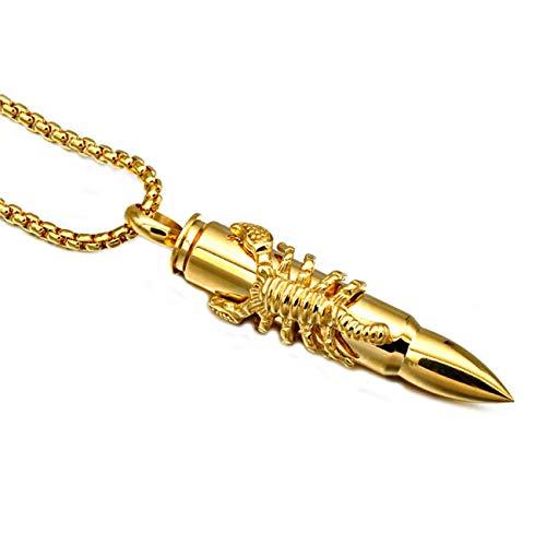 MINI SHOW Herrenanhänger, Bullet-Pinzette Edelstahlkette, Herren- und Damenanhänger, Gold, 0,055 kg