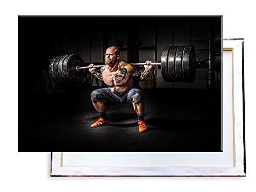 Unified Distribution Bodybuilding - Kniebeuge - 100x70 cm - Bilder & Kunstdrucke fertig auf Leinwand aufgespannt und in erstklassiger Druckqualität