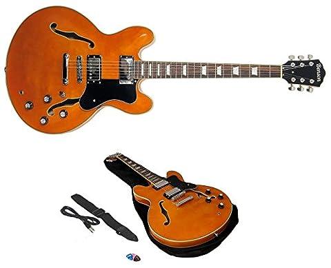 Benson ES Double cutaway semi-acoustic hollow body electric guitar package (vintage sunburst)