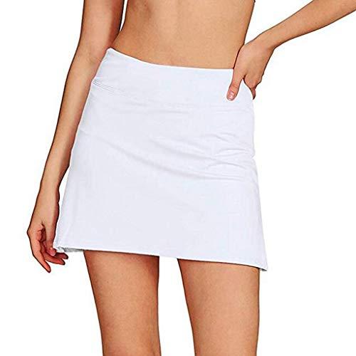 KPILP Damen Minikleid Sommerkleid Petticoat Unterröcke Lässiger Plissee-Tennisgolfrock mit darunterliegenden Shorts Running Skorts(Weiß,L)