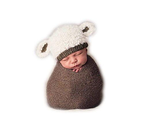 Handgefertigt Infant Newborn Baby Mädchen Boy Crochet Knit Lamm Hat Fotografie Requisiten OUTFITS (Lamm Kostüme Neugeborene)
