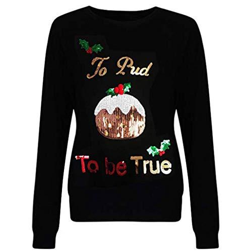 Damen Weihnachten Pullover Langarmshirt Santa Claus und Schnee Druck Sweatshirt Casual Xmas Party Langarmshirts Freizeitkleidung Jumper Weihnachtspullover Pullover Tops Oberteil Bluse Shirt Outwear -