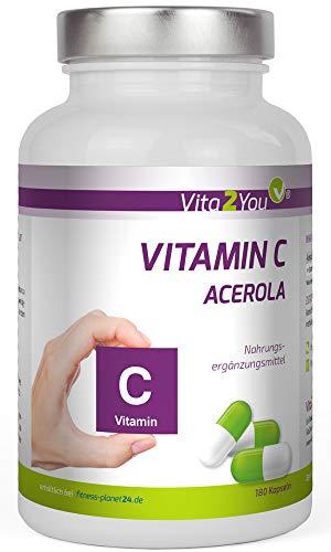 Vitamin C Acerola - 180 Kapseln - 750mg Acerola pro Kapsel - Natürliches Vitamin C - Hochdosiert - Premium Qualität - Made in Germany