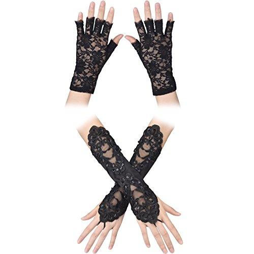 1 Paar Spitze Fingerlos Handschuhe und 1 Paar Kurze Halffinger Spitze Handschuhe 1980er Maskeradekostüm Blumenhandschuhe für Henne Nächte, Halloween, Braut Hochzeit, Party, Prom Kleid, Feier, total 2