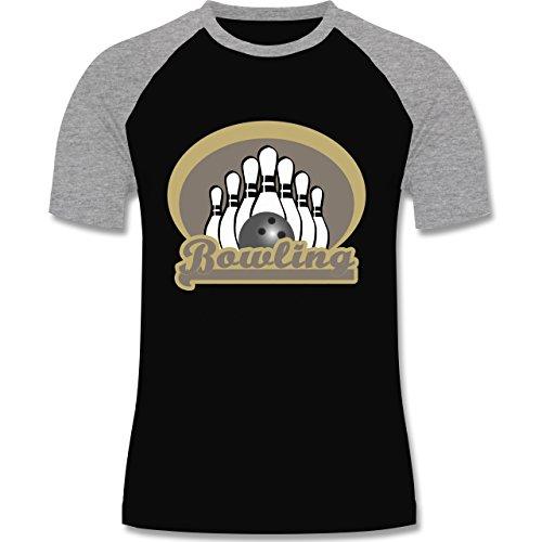 Shirtracer Bowling & Kegeln - Bowling Old School - Herren Baseball Shirt Schwarz/Grau Meliert