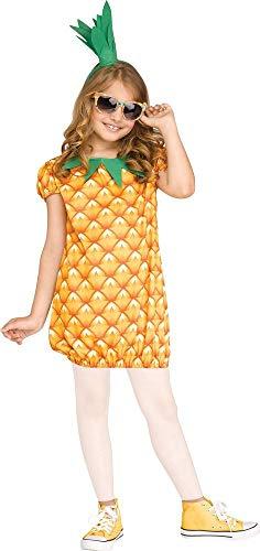 shoperama Ananas Mädchen Kostüm Kleid und Kopfschmuck Kinder Frucht Obst Verkleidung Karneval, Größe:L - 12 bis 14 - Kinder Frucht Kostüm