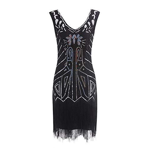 Cebbay 1920s Jahrgang Frauen Knielang Flapper Kleid Kostüm Kleid 20er Jahre Flapper Damen Gatsby Kostüm Kleid Fransen Pailletten Quaste ()