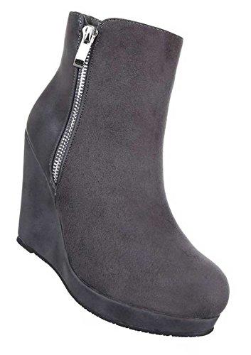 22b88c19a148e3 Damen Boots Stiefeletten Schuhe Keil Wedges Schwarz Grau Braun Rot 36 37 38  39 40