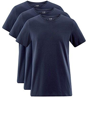 oodji Ultra Herren T-Shirt Basic (3er-Pack) Blau (7901N)
