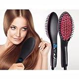 KSTAR™ 2 in 1 Simply Straight Ceramic Hair Straightener and Styling Brush for Women (Black)