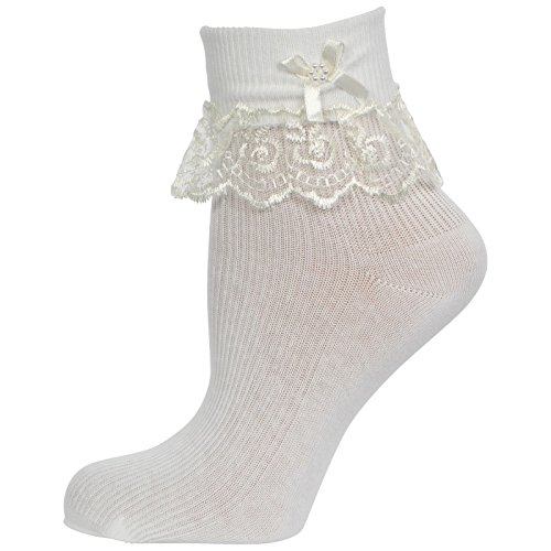 Cute Decorative Baby Girl White Cream/Ivory Frilly Lace Socks (Newborn to 10 years old) 10% with TWO or more purchase