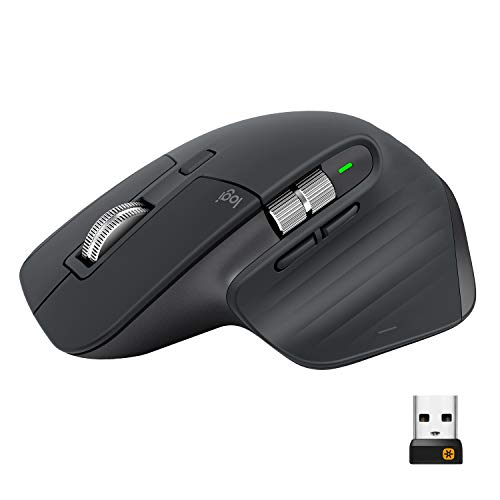Logitech MX Master 3 Mouse, Wireless, Ergonomico, 4000 dpi, Personalizzazione, USB-C, Bluetooth, USB, Mac Apple, Graphite