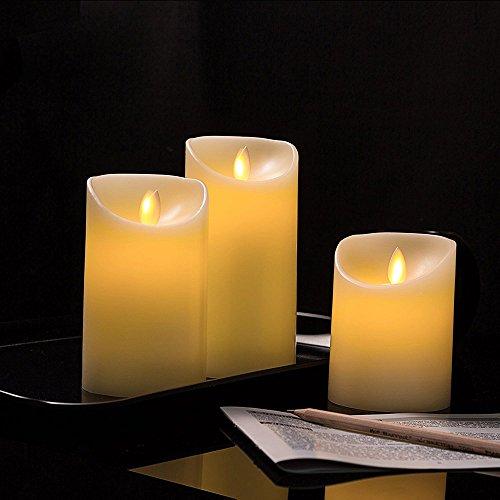 uomere Flammenlose Kerzen Lichter, geruchloses Fake Kerzen bernstein Yellow Flame batteriebetrieben Flick automatisch (3St) (Kerzen Flammenlose Geruchlos)