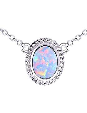 KELITCH Frau Halsband Halskette Synthetik Opal Eiförmig Anhänger Mit 16-18