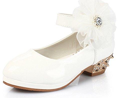 Ohmais Enfants Filles Chaussure cérémonie Ballerines à bride Fête Demoiselle d'honneur Mariage Escarpin à petit talon Blanc