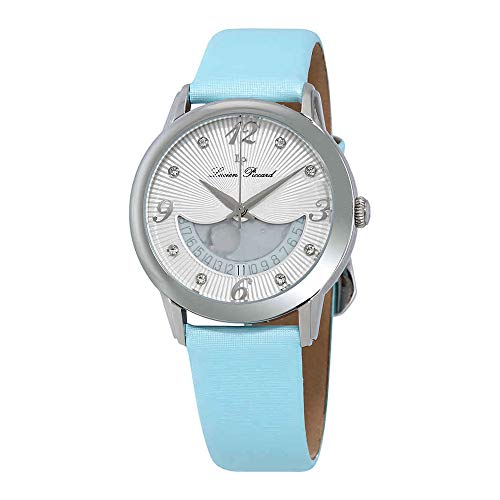 Lucien Piccard Women's 'Bellaluna' Swiss Quartz Stainless Steel and Leather Casual Watch, Color:Blue (Model: LP-40034-02-BBLSS)