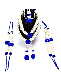 Flower Jewellery (Blue & White), 6 Items Set For Women & Girls (for Mehandi/HALDI/Wedding/Bridal)