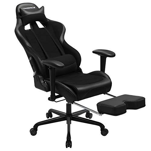 SONGMICS Gaming Stuhl mit Fußstütze, 150 kg, Bürostuhl, Schreibtischstuhl, Lendenkissen, Kopfkissen, hohe Rückenlehne, ergonomisch, Stahl, Kunstleder, atmungsaktives Meshgewebe, schwarz RCG52BK