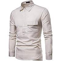 Camisas de Corte Slim Casual de Primavera para Hombre Camisa con Botones de Manga Larga a Cuadros Top Blusa