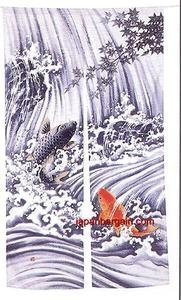 Japanese NOREN Doorway Curtain Koi Fish 35x60in pcos-59 by JapanBargain (Noren Koi)