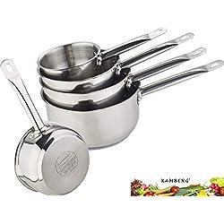 Kamberg - 0008077 - Set 5 Casseroles 12 / 14 / 16 / 18 / 20 cm - Acier Inoxydable Haute Qualité - Poignée anti chaleur Argent - Tous feux dont induction