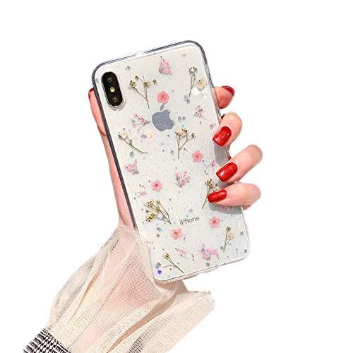 WQXD Echte getrocknete Blumen-Telefon-Kasten für iPhone XS maximales Xr X 6 7 8 Plus transparente weiche TPU-Abdeckungs-Chic,Für das iPhone X,Pink,iPhone7plus