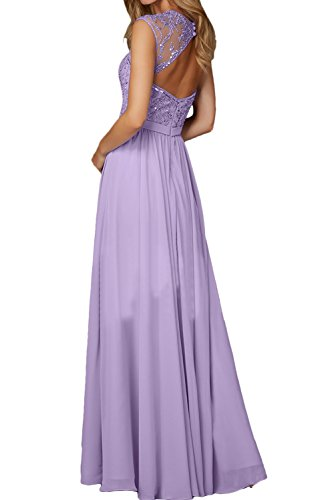 Ivydressing Damen Elegant Herzform Abendkleider Lang Chiffon Ballkleid Festkleid Promkleider Himmelblau