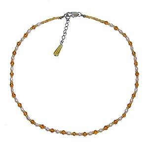 Fluorit gelb Edelstein Kugel Kette facettiert mit Perlen , Fluorit: ca 2 mm, Perle:ca.2 mm mit Silber Karabiner Verschluss.(4846)