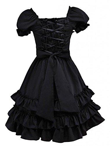 Cemavin Süßes schwarzes kurzen Ärmeln Baumwolle Lolita (Erwachsene Für Kostüme Bug)