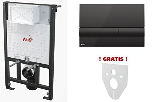 WC Vorwandelement für Trockenbau 85 cm inklusive Betätigungsplatte Schwarz/ Schwarz Unterputzspülkasten Spülkasten Wand WC hängend Schallschutz