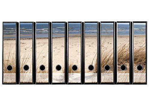 Set mit 9 Stück Breiten Ordner-Etiketten selbstklebend (Ordnerrücken Aufkleber Sticker) Traumhafter Strandblick für Ihr Aktenregal, Düne Strand & Meer