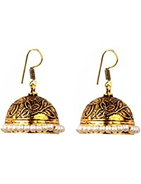 Sansar India Gold Plated White Beads Oxidized Jhumka Traditional Earrings For Girls And Women