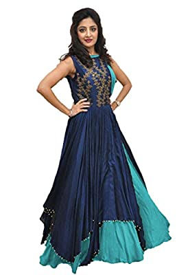 RUDRA ZONE Women's Gown With Ebrodide Free Size For Women's and girl's(RZ_2018_ women's Gown Semi Stichde Free Size)