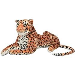 vidaXL Leopardo de Peluche Gigante Marrón XXL Animal Blando Decoración Juguete