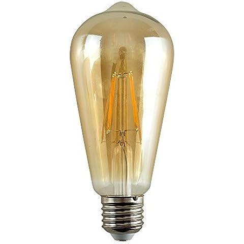Lote de 4 bombillas LED SteamPunk E-27. Pera edison, tintada color ámbar, diseño de jaula de ardilla, 4 W equivalen a 40 W, 2700 k, color de luz blanco cálido, 440 lúmenes, 15.000 horas de
